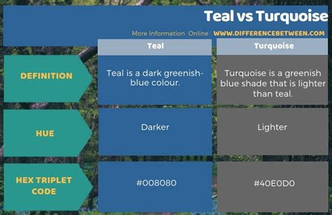 Difference Between Teal and Turquoise   Compare the