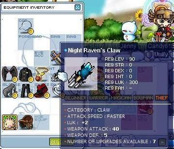 MapleStory New Claw for Pure Luck Hermits / Night Lord